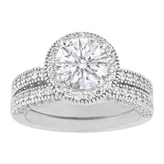 Engagement Ring - Vintage Style Round Diamond Pave Bridal Set 1.10 tcw. In 14K White Gold - ES470BS