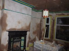 Day 32: thankfully the new plaster has hidden some of the old garish colour scheme