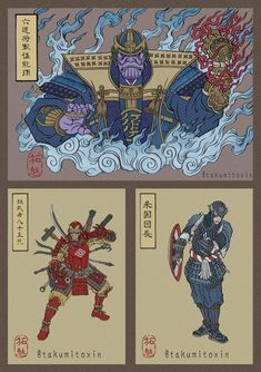 Avengers Characters in the Style of Japanese Ukiyo-e Prints
