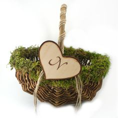 Natural Flower Girl Basket Moss and Twine by MorningBugWeddings