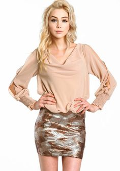 Get glam in this gorgeous party dress! Luxe dress with a cowled chiffon top and glitzy sequin skirt.  http://foxyblu.com/details/66683