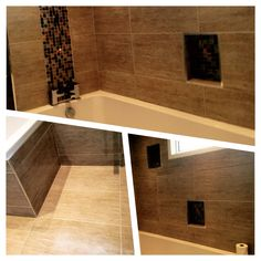 #lb_interiors #sdbtilingltd #contemporary #refurb #bathroom #mosaic Tiling, Decor Interior Design, Alcove, Mosaic, Bathtub, Interiors, Contemporary, Bathroom, Standing Bath