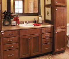 bennington door style in maple finished in chestnut bathroom