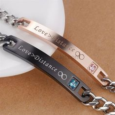 Gullei.com Distance Relationship Couple Bracelets Set for 2 Personalized Couples Gifts | Matching Necklaces & Bracelets | Custom Promise Rings Bracelet Couple, Matching Couple Bracelets, Couple Jewelry, Bangle Bracelets With Charms, Black Bracelets, Bracelet Set, Bracelets For Men, Bangles, Promise Bracelet