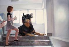 Paintings Explore the Bond Between a Girl and Her Giant Dog - My Modern Metropolis