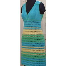 Crochet Summer Dress with stripes Adult sizes by PdfPatternDesign