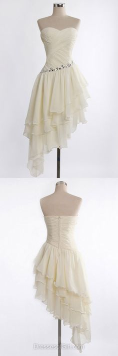 2017 asymmetrical homecoming dresses,white homecoming dresses,unique homecoming dresses,high low homecoming dresses,A-line sweetheart chiffon prom dresses