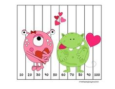 Valentine's Number Puzzles {Skip Counting by 2, 5 and 10}