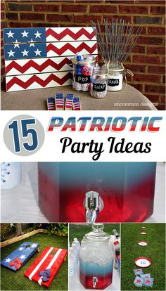 DIY of July Ideas and other fun Patriotic Party Ideas Independence Day DAY# Fourth Of July Decor, 4th Of July Celebration, 4th Of July Decorations, 4th Of July Party, July 4th, 4th Of July Ideas, 4th Of July Events, Birthday Decorations, Patriotic Crafts