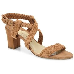Paul Andrew Elisabet Woven Suede Block-Heel Sandals (2.875 BRL) ❤ liked on Polyvore featuring shoes, sandals, apparel & accessories, strap heel sandals, padded sandals, block heel sandals, boho sandals and open toe sandals
