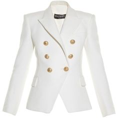 Balmain Six-button double-breasted blazer ($1,739) ❤ liked on Polyvore featuring outerwear, jackets, blazers, balmain jacket, white double breasted blazer, leather blazer, double breasted leather jacket and white shrug