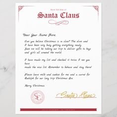 Shop Red White Official Letter From Santa Claus created by GraphicLoveShop. Christmas Letter From Santa, Christmas Letter Template, Santa Letter Printable, Christmas Post, Kids Christmas, Letter From Santa Template, Xmas, Free Printable, Christmas Crafts