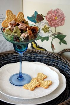 Serve bow tie pasta chicken salad in stemware along with Pepperidge Farm butterfly crackers served on the side.