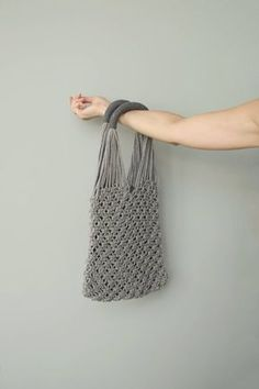 This macrame tote bag in light grey and dark grey color was handknotted with love to coziness and simplicity. This minimalist women bag is friendly to nature and perfect for shopping and carrying groceries and vegetables form market or store. No more plastic carrier bags! With this bag