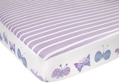 CoCaLo Mix & Match Candy Stripe Fitted Sheet, Violet