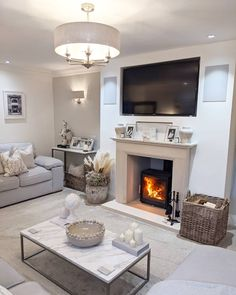 Alcove Ideas Living Room, Feature Wall Living Room, Decor Home Living Room, Cottage Living Rooms, Elegant Living Room, Living Room Interior, Living Room Designs, Room Ideas, Log Burner Living Room