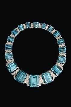 Jewelry Diamond : Aquamarine and diamond necklace 1933. #stunningjewelry