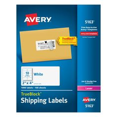 Avery White Shipping Labels w/ TrueBlock Technology for Laser Printers, 2 x 4 in., White, 1000 Count (5163)