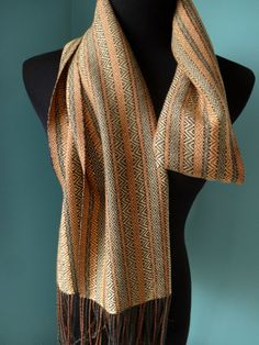 Handwoven Tribal Twill Tencel Scarf in Gold Alpaca Scarf, Wool Scarf, Woven Scarves, Lace Wrap, Hand Weaving, Charcoal Gray, Lamb, Fiber, How To Wear