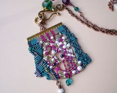 Unique bohemian macrame necklace pendant Teal by MartaJewelry