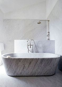 tub in front of shower….marble tub maybe a bit hard on the wallet but would also look great with traditional freestanding tub.