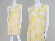 Vintage 60s Mod Shelana Dress Pastel Floral Print Mini Dress Babydoll Dress Shift Dress 1960s Mini Dress Plastic Buckles Wrap Front Day