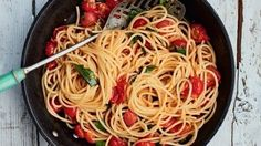Spaghetti alla chitarra with fresh tomatoes, garlic, chilli and rocket | Recipes | Gino's Italian Escape