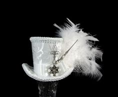 White and Silver Steampunk Wedding Mini Top Hat by TheWeeHatter