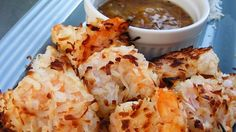 """This crunchy coconut shrimp is baked instead of fried, and so easy! Great for dinner or as an appetizer. I serve with orange marmalade for dipping."" Ingredients 1 pound large shrimp, peeled and deveined cup Baked Coconut Shrimp, Coconut Shrimp Recipes, Fish Recipes, Seafood Recipes, Great Recipes, Dinner Recipes, Cooking Recipes, Favorite Recipes, Coconut Prawns"