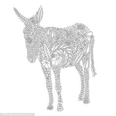 An image of a donkey from the colouring book is creatively constructed from flora and faun...