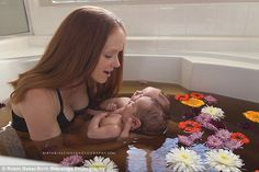Getting to know you: After the birth, mom and babies enjoyed a herbal bath together...