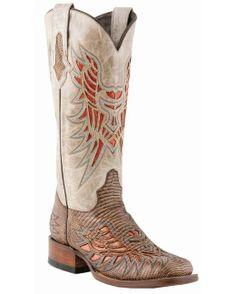 Lucchese Women's Rustic Chestnut Lizard Horseman Boot