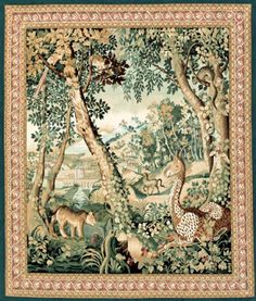 SEVENTEENTH CENTURY DUTCH TRADE ENCOURAGED A FEVERISH INTEREST IN ORIENTAL OBJECTS AND SCENES. SUCH INTRIGUE CLEARLY INFLUENCED THIS DYNAMIC JUNGLE SCENE POPULATED BY EXOTIC ANIMALS SUCH AS A PARROT, MONGOOSE, LION, HORSE AND GIRAFFE. .EXOTIC 17TH CENTURY DESIGN STYLE