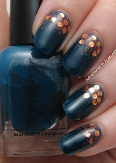Perfect for fall. Blue diamond turquoise & copper glitter