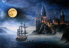 Harry Potter Painting, Harry Potter Drawings, Harry Potter Tattoos, Harry Potter Castle, Harry Potter Ships, Castle Painting, Diy Painting, Desenhos Harry Potter, Fairytale Castle
