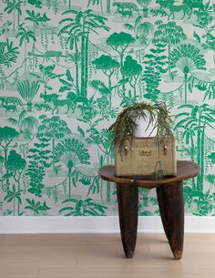 A wild, contemporary take on modern toile wallpaper, Aimee W. A wild, contemporary take on modern toile wallpaper, Aimee Wilder's Jungle Dream enlivens any space with a playful pattern and pop of color. Toile Wallpaper, Modern Wallpaper, Vinyl Wallpaper, Print Wallpaper, Designer Wallpaper, Wallpaper Jungle, Interior Wallpaper, Quirky Bedroom Wallpaper, Green Wallpaper