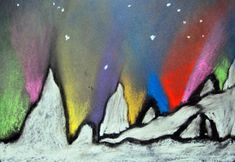 6th grade-Northern Lights winter lesson - a nice change from the usual