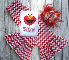 Elmo Birthday Outfit Girls Chevron by HeavenlyBlessingsBow, $50.00
