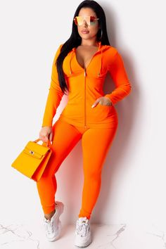 Neon Sexy Two Piece Matching Set Casual Women Club Outfits V Neck Full Sleeve Zipper Coat Pencil Pants Causal Sweatsuit Plus Size Tracksuit, Tracksuit Set, Club Outfits, Fall Outfits, Orange Leggings, Winter Tops, Fall Winter, 2 Piece Outfits, Festival Outfits