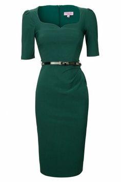 Charlotte Sweetheart Pencil dress in Forest Green #womenscardigan #womensouterwear #womensjacket #vintagedresses #vintagedress #vintagestyle
