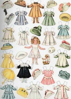 Muñeca de papel. Panenka z papíru se spoustou nádherných šatů.