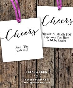 Cheers Tags Printable Editable Favor Tag Template by RevintagedArt