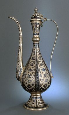 Rare huge Islamic Niello Ottoman caucasian Dallah Coffee Pot solid silver marked