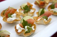 Smoked Salmon Canapes - So simple, and baked not fried! These are a great idea for a Christmas Party!