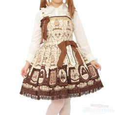 White & Brown Musee du Chocolat dress Brand: Angelic pretty ¥ 31,990 tax  No notation size Length: 88cm Cotton: 100% Shearing: Yes Rank S: new goods unused goods http://www.wunderwelt.jp/products/detail1689.html Used Lolita clothing shop Wunderwelt
