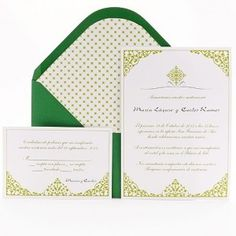 emerald and gold wedding invitations