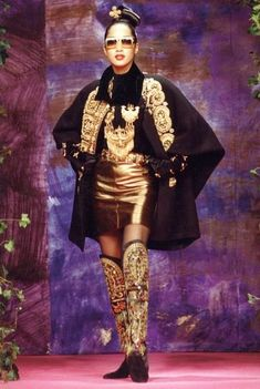 Anna Bayle for Christian Lacroix Haute Couture Fashion Show, Fall/winter 1990