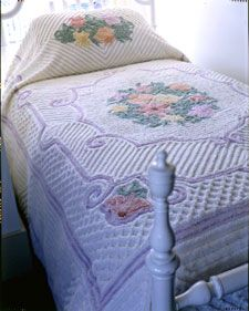 Chenille!!! Mine was plain - nothing as fancy as this. I only knew Chenille bedspreads - practically!
