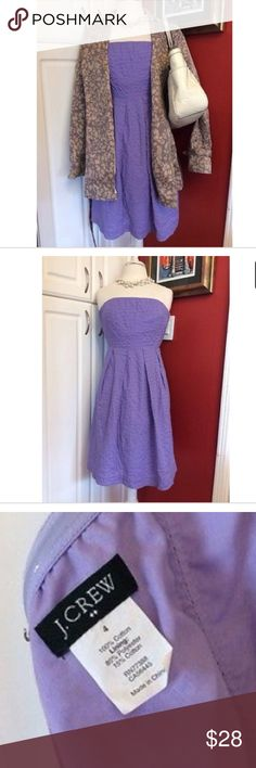 """J. Crew Lavender Strapless Dress J. Crew Dress Strapless, rear zipper, elastic band in bust, lined From J. Crew factory, Summer 2012 collection RN77388, style #20704 Fabric: 100% cotton, lining: 85% polyester, 15% cotton Care: machine wash cold gentle cycle.  Measurements (approx): Length: 30"""" Hips: 20.5"""" Waist: 12.5"""" Bust: 14"""" Condition: pre-loved, no major flaws seen  Perfect for Spring time and Summer! J. Crew Factory Dresses Strapless"""