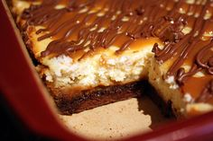 Caramel Brownie Cheesecake. Yes, yes I want it. With little slices of strawberries on top.